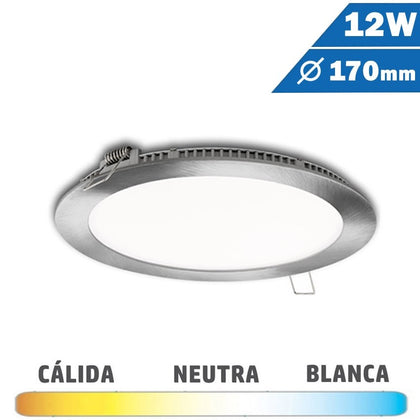 Panel LED Redondo Níquel Satinado 12W 170mm