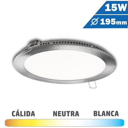 Panel LED Redondo Níquel Satinado 15W 195mm