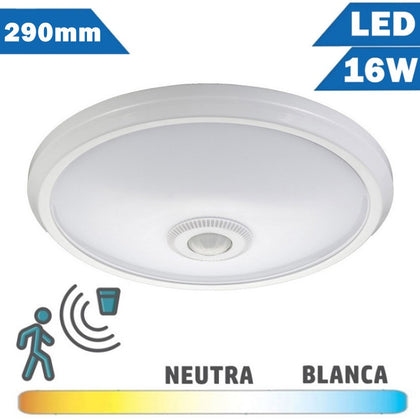 Plafón LED 16W 290mm Detector Movimiento Superficie Redondo
