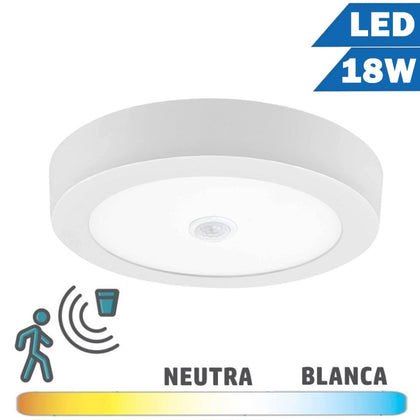 Plafón LED 18W Blanco 230mm Detector Movimiento