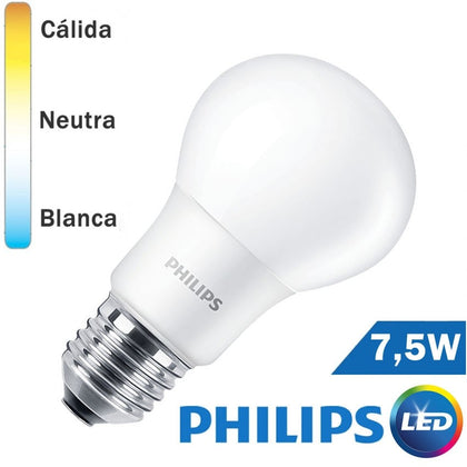 BOMBILLA LED E27 PHILIPS 7,5W ESTANDAR