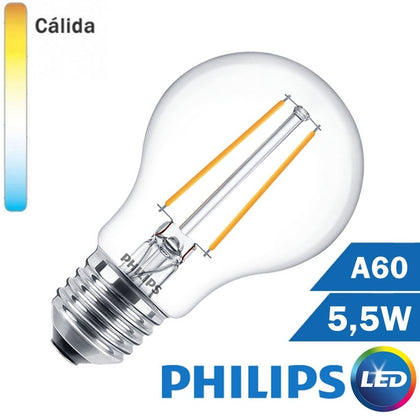 BOMBILLA LED E27 PHILIPS 5,5W A60 CLARA