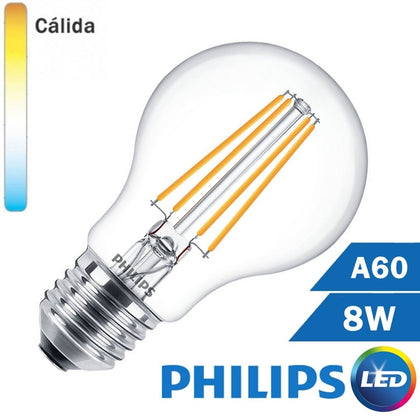 BOMBILLA LED E27 PHILIPS 8W A60 CLARA