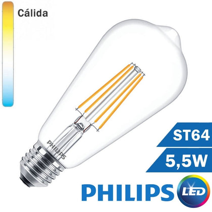 BOMBILLA LED E27 PHILIPS 5,5W ST64 CLARA