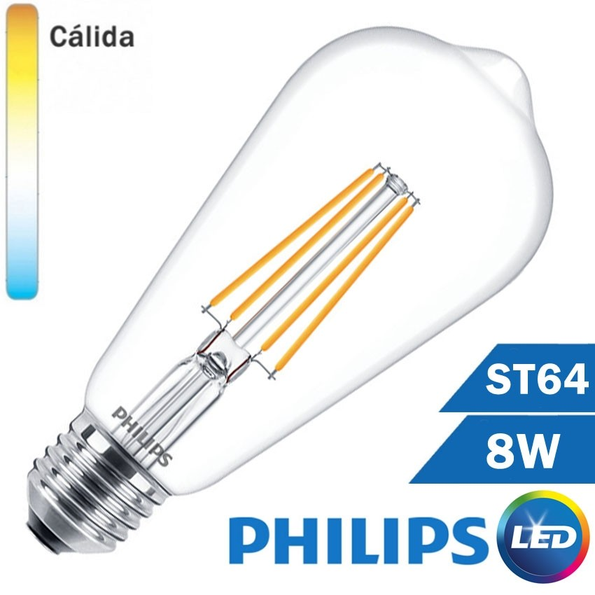 BOMBILLA LED E27 PHILIPS 8W ST64 CLARA