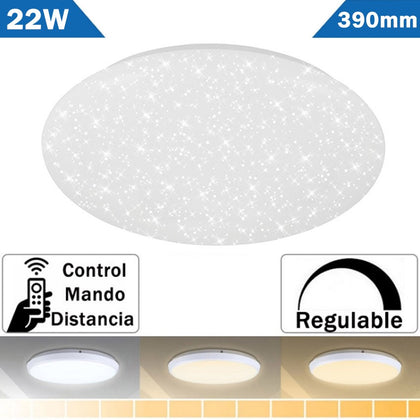 Plafón LED 22W Estrellas Redondo Cambio Color Regulador con Mando