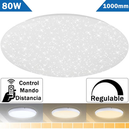 Plafón LED 80W Estrellas 1 Metro Redondo Cambio Color Regulable con Mando