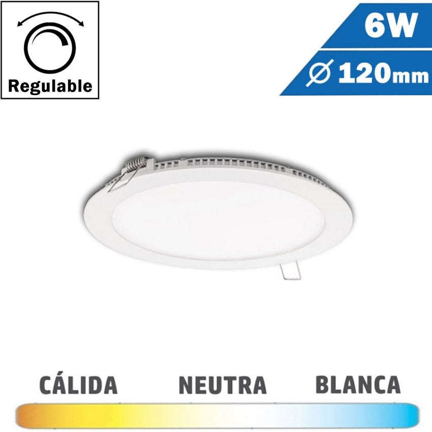 Panel LED Redondo Blanco 6W Regulable 120mm