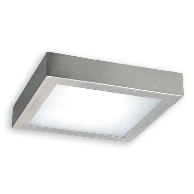 Plafón Superficie LED Cuadrado Níquel 18W 225x225mm
