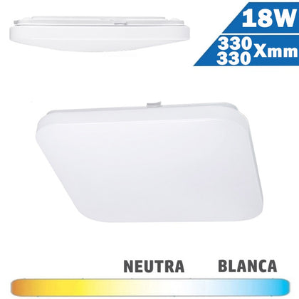 Plafón Superficie LED Cuadrado 18W 330x330mm