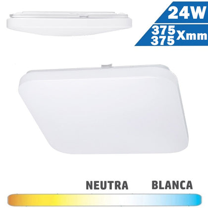 Plafón Superficie LED Cuadrado 24W 375x375mm