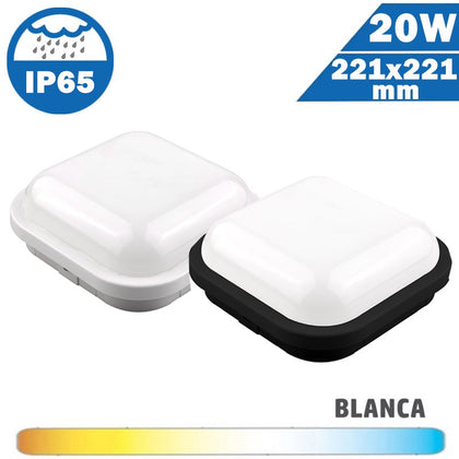 Plafón Superficie LED 20W Cuadrado Exterior IP65