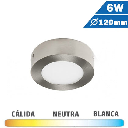 Plafón Superficie LED Níquel 6W 120mm