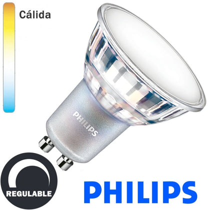 Bombilla LED Philips GU10 6,2W 120º Regulable