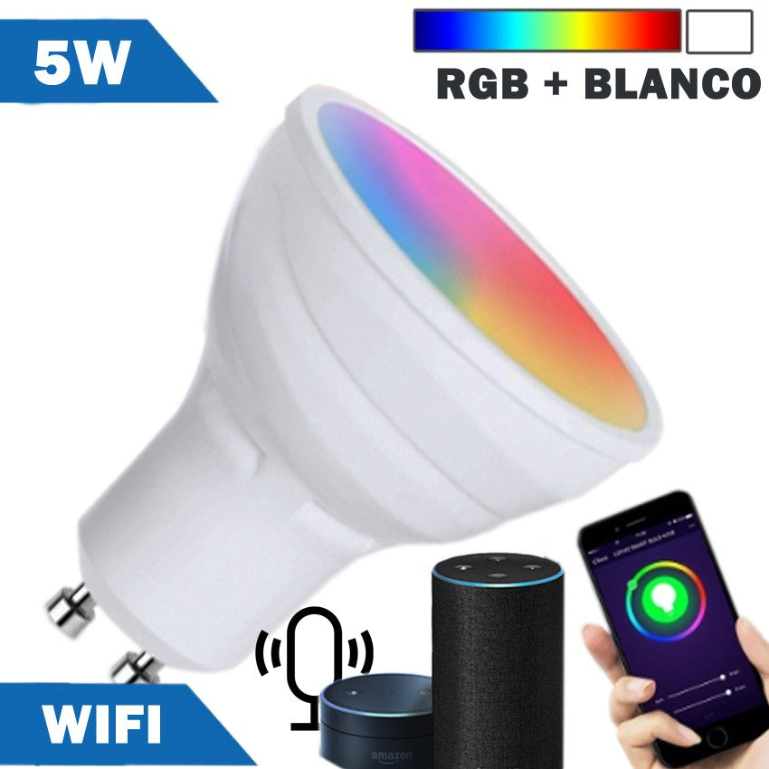 Bombilla LED Smart WIFI GU10 5W RGB + Blanca