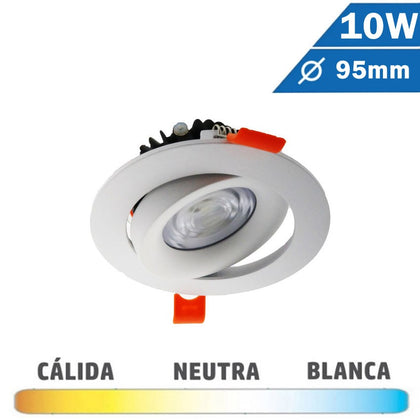 Downlight LED COB Redondo Blanco 10W Basculante