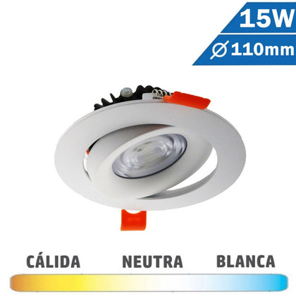 Downlight LED COB Redondo Blanca 15W Basculante