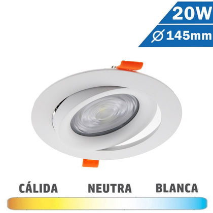 Downlight LED COB Redondo Blanco 20W Basculante