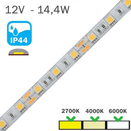 Tira LED 12V 14,4W 60LEDs/m Siliconada IP44