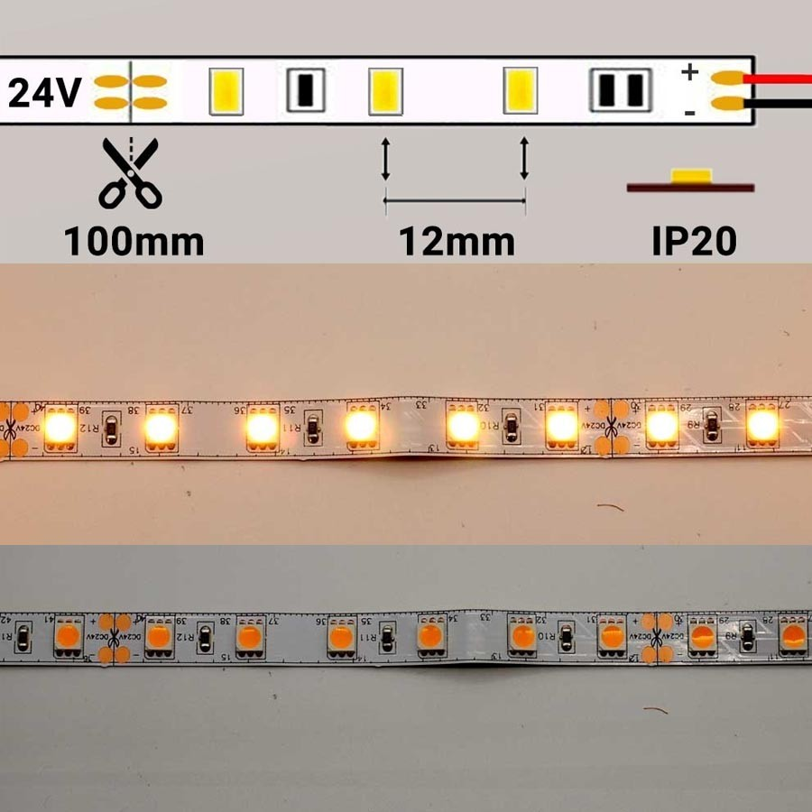 Tira LED 24V 14,4W/m 60 LEDs/m 5050 Gold 2500K