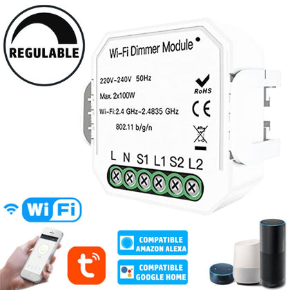 Regulador Dimmer LED WIFI APP Pastilla 2 Zonas X 100W