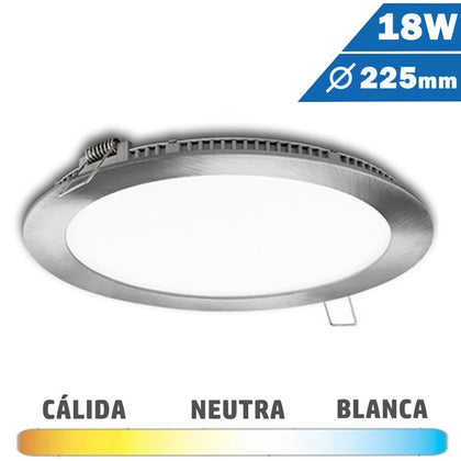 Panel LED Redondo Níquel Satinado 18W 225mm
