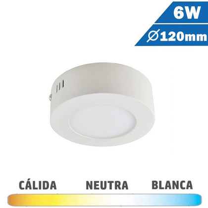Plafón Superficie LED Blanco 6W 120mm