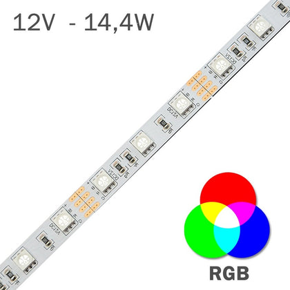 Tira LED 12V RGB 14,4W/m Cambio Color RGB
