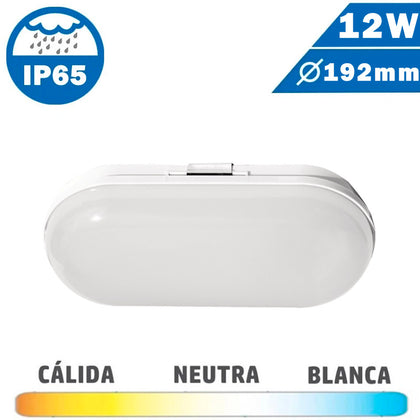 Plafón Aplique Exterior Oval LED 12W IP65
