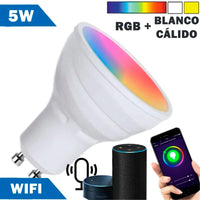 Bombilla LED Smart WIFI GU10 5W RGB + Cálida y Blanco