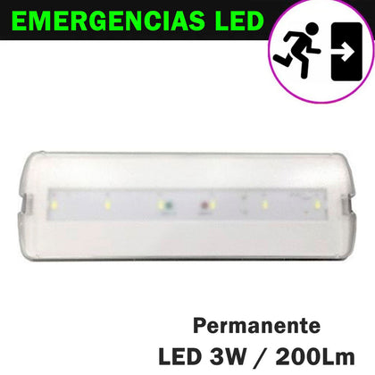 Emergencia LED 3W 200Lm Función Permanente