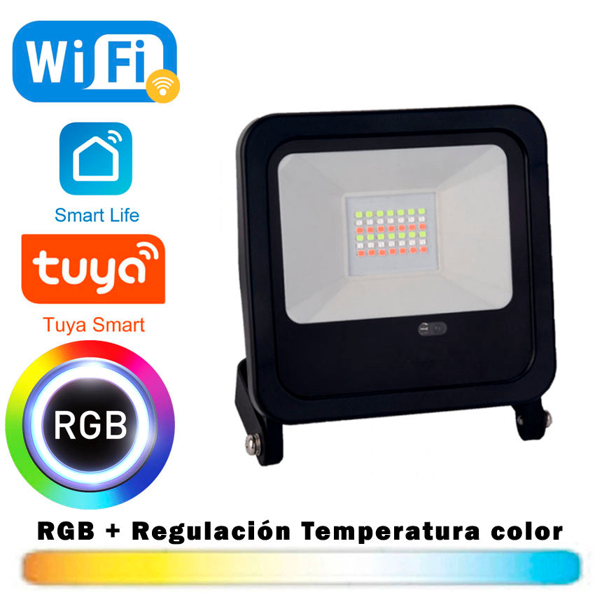 Proyector LED RGB + CCT 30W WIFI Smart Tuya