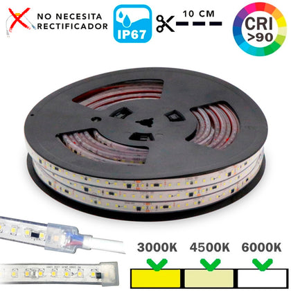 Tira LED 220V RZ IP67 17W/m 120 LEDs Rollo 20 Metros