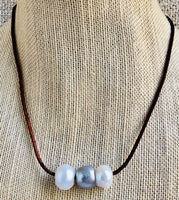 Leather with Large Organic Freshwater Pearl