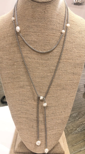Stainless Box Chain and Potato Pear Lariat