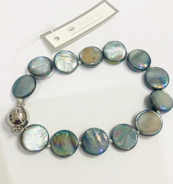Mother of Pearl Slate Blue Bracelet with Magnet Clasp