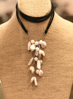 Leather Lariat with Organic Pearl Cluster