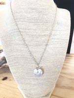 Beaded Pearl Crystal Heart Drop Necklace