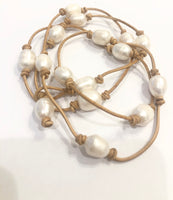 Tied Leather and Potato Pearl Bracelet or Necklace