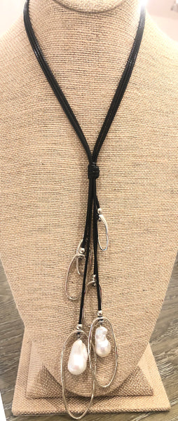 Baroque Pearl Dangle on Waxed Black Leather Cord Necklace