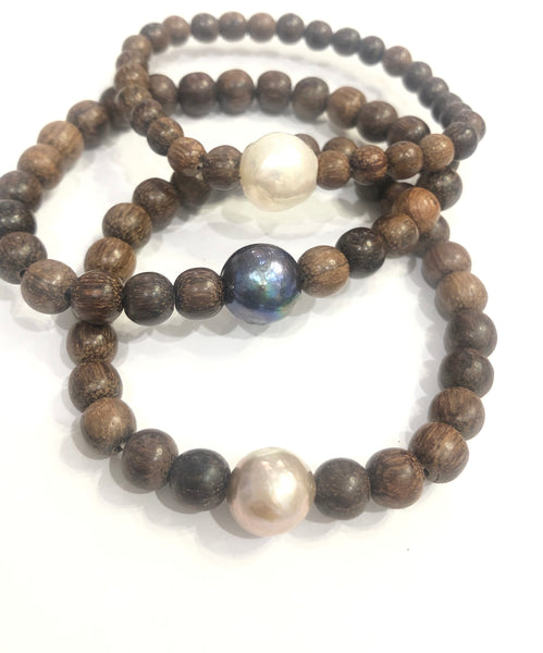 Wooden Bracelet with Potato Pearl