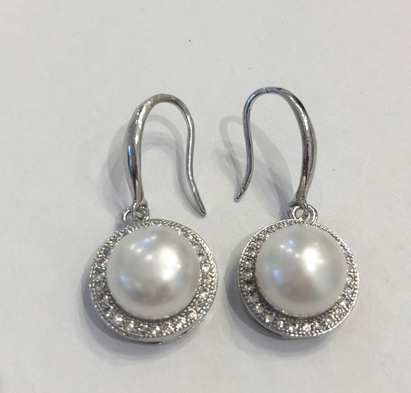 Crystal Ring Pearl Drop Earring