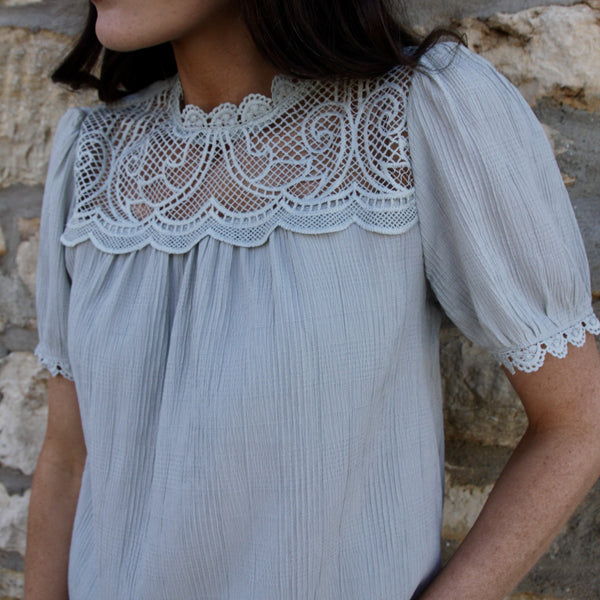 Lindsay Lace Woven Top