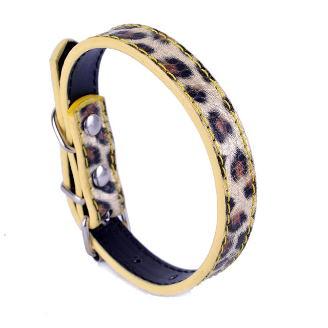 Fashionable Leopard Leather Dog Collar