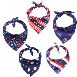 NEW 5 Style 4th Of July Independence Day Dog Bandana Scarf Dog Triangular Neckerchief Bib Bandana Pet Dog Grooming Accessories