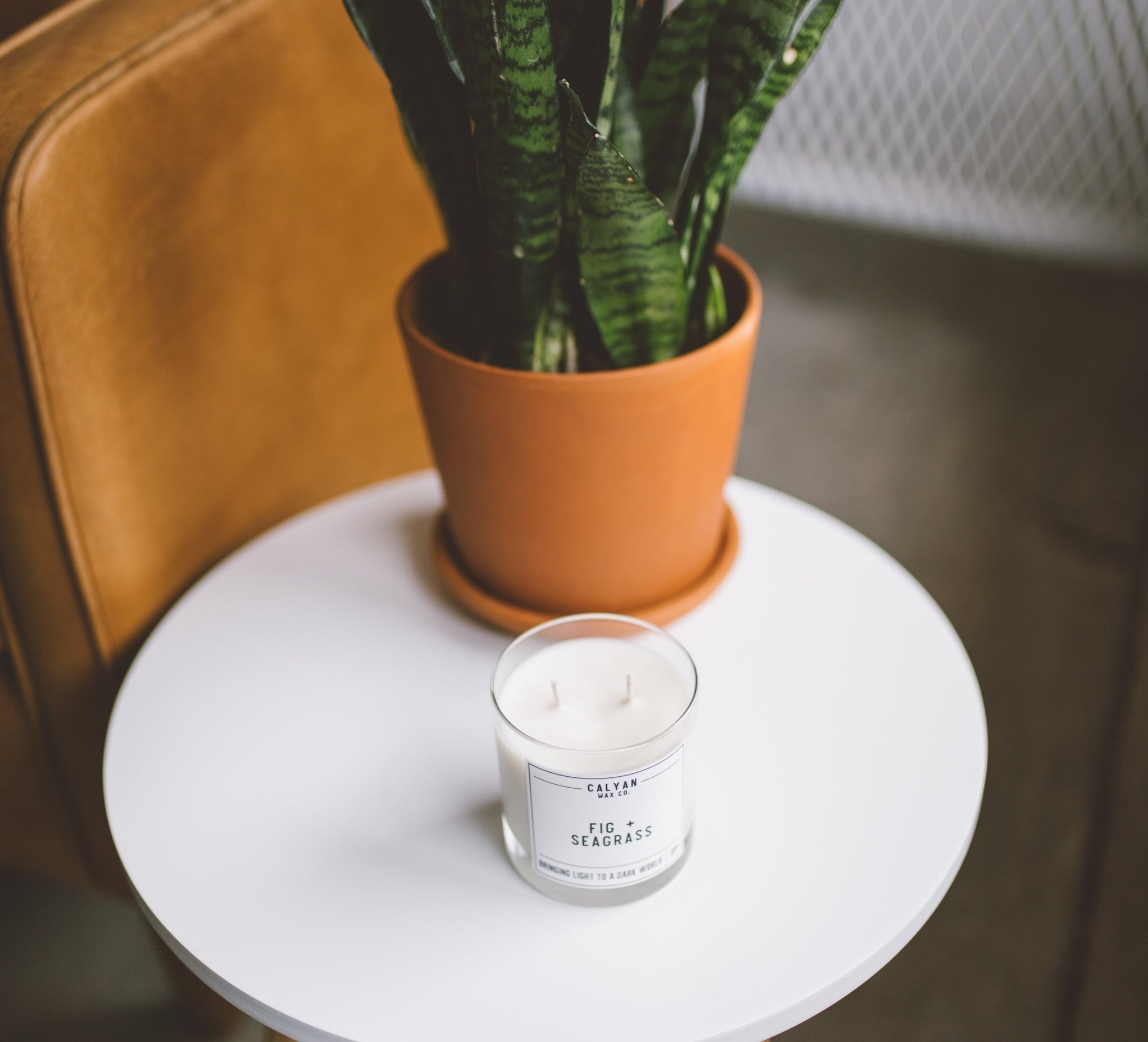 Calyan Wax Co. Fig + Seagrass Glass Tumbler
