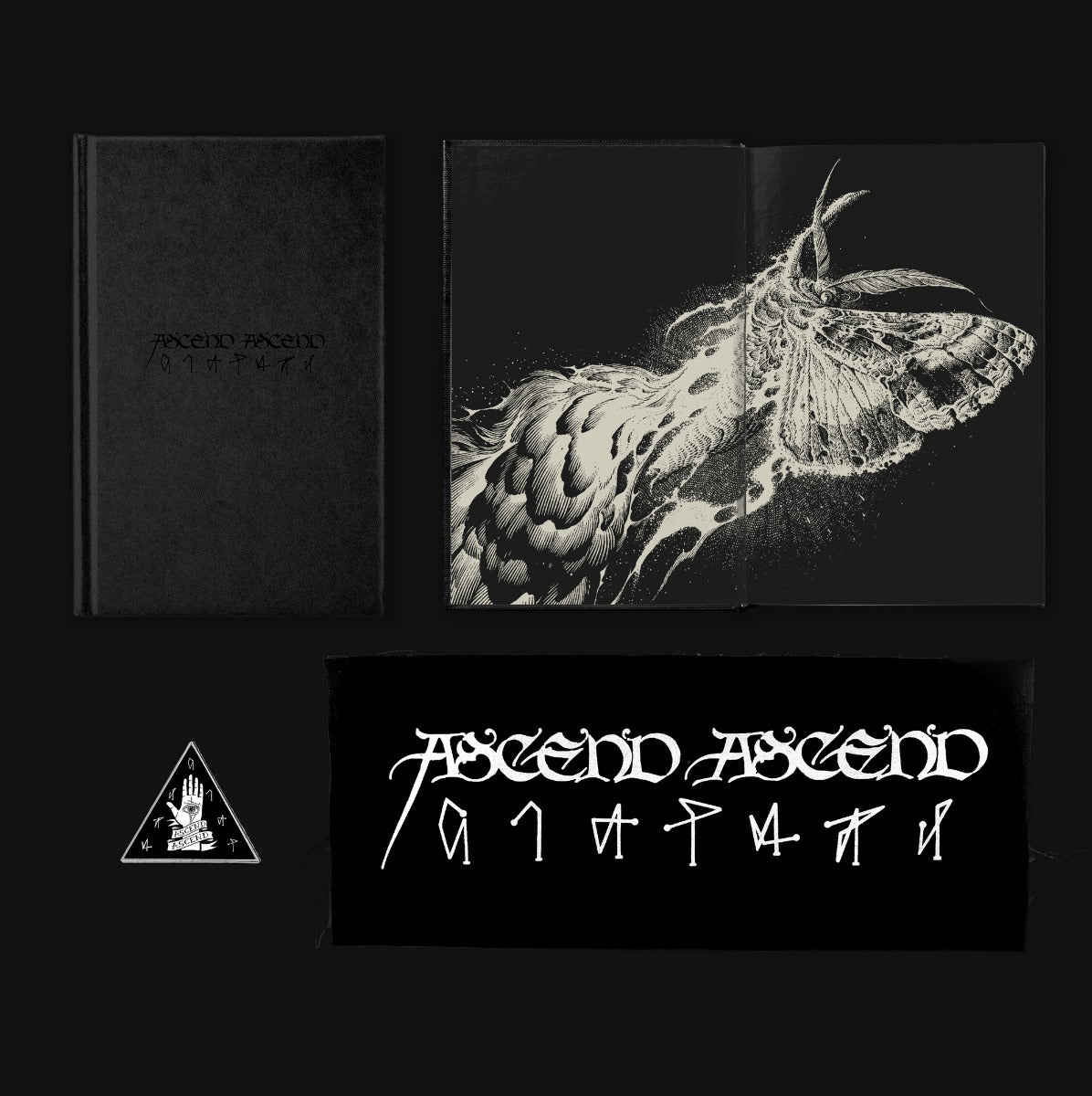 Ascend Ascend: Special Edition The signed, hardcover, special edition of ASCEND ASCEND by Janaka Stucky from Third Man Books will have a black-on-black foil debossed cover, with the illustration by Aaron Horkey printed across its inside front cover and