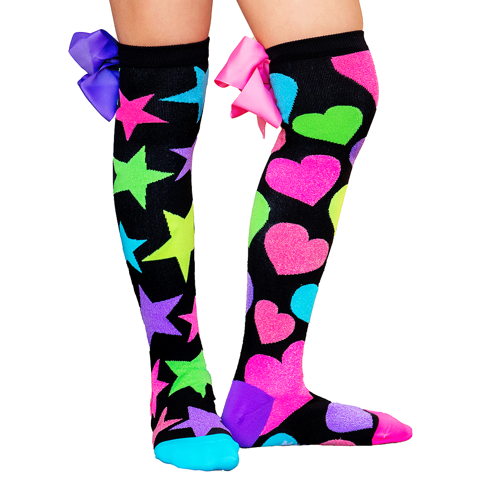 GLITTER SOCKS WITH BOWS