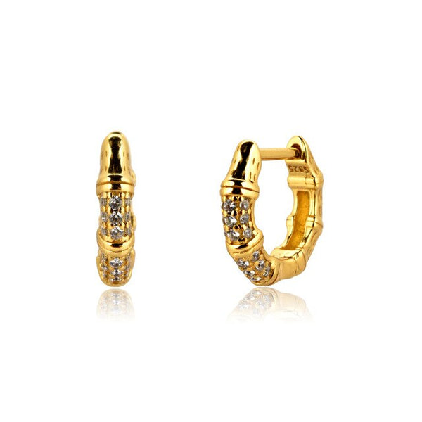 Gold Crystal Hoops - Bizoux Sterling