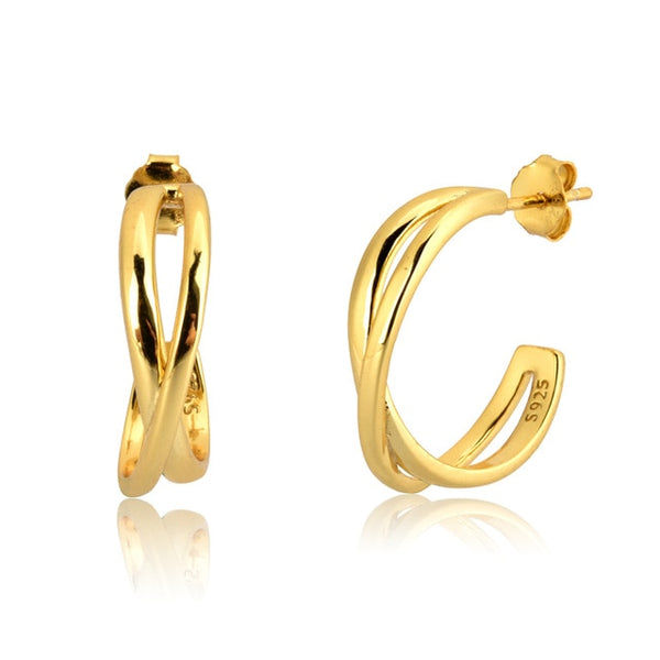 Cross Gold Hoops - Bizoux Sterling